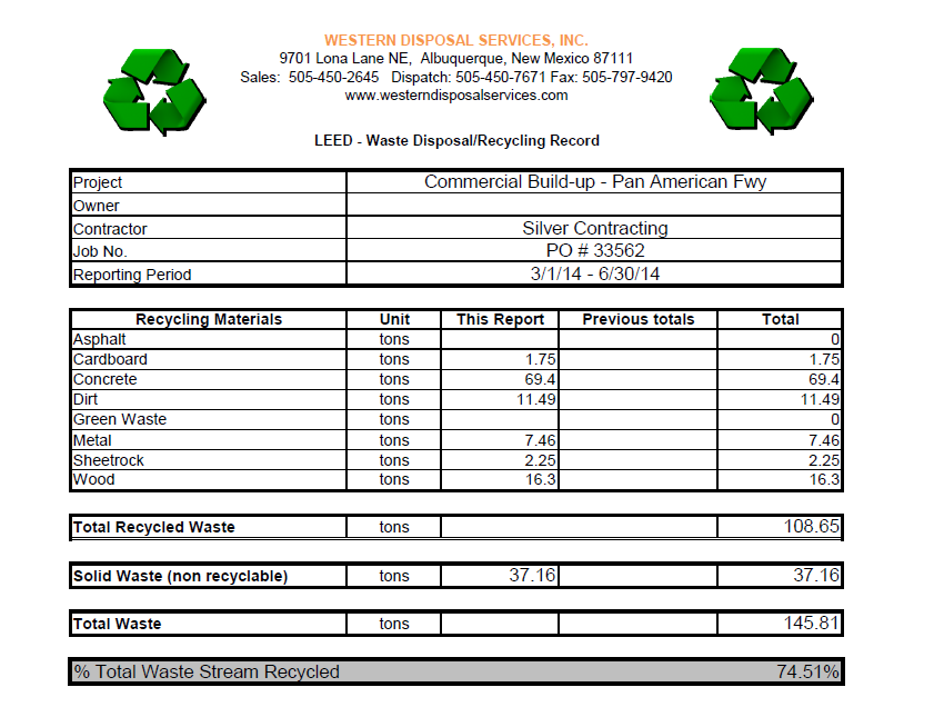 leed tracking spreadsheets western disposal services inc